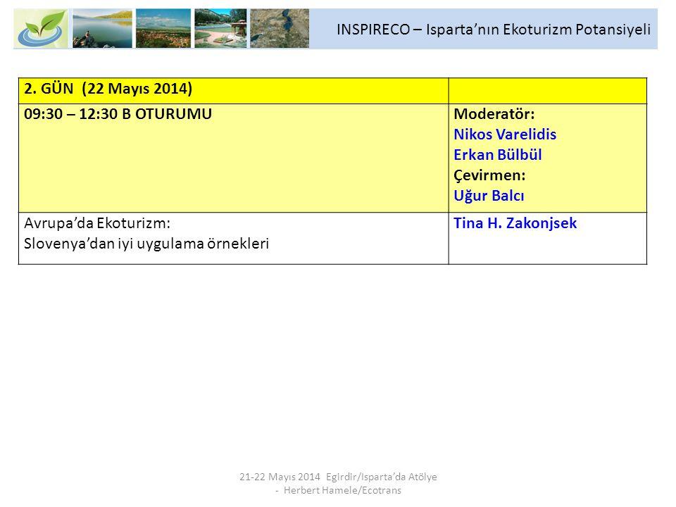INSPIRECO – Isparta'nın Ekoturizm Potansiyeli 21-22 Mayıs 2014 Egirdir/Isparta'da Atölye - Herbert Hamele/Ecotrans 2. GÜN (22 Mayıs 2014) 09:30 – 12:3
