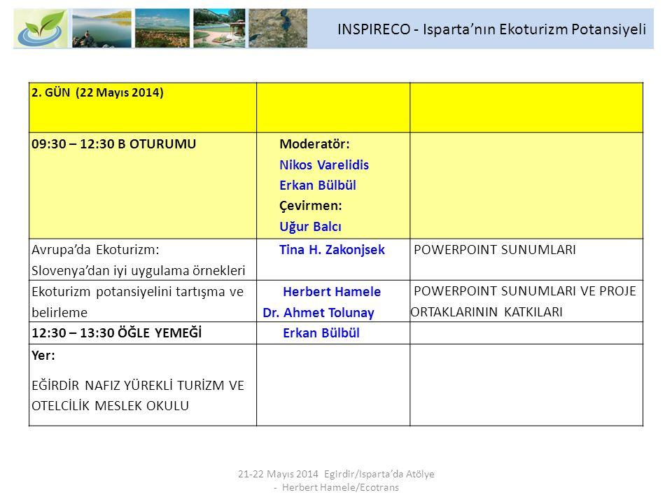 INSPIRECO - Isparta'nın Ekoturizm Potansiyeli 21-22 Mayıs 2014 Egirdir/Isparta'da Atölye - Herbert Hamele/Ecotrans 14:00 – 18:00 C OTURUMU Moderatör: Nikos Varelidis Erkan Bülbül Çevirmen: Uğur Balcı Ekoturizm potansiyelini hayata geçirmek için yapılması gerekenleri tartışma ve karara bağlama, ör.