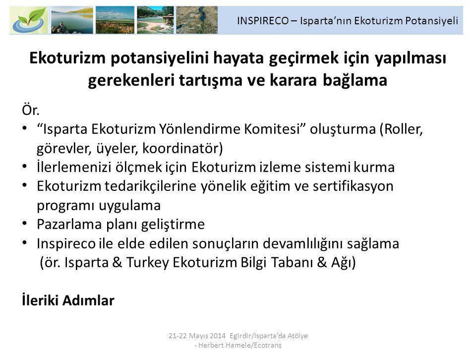 INSPIRECO – Isparta'nın Ekoturizm Potansiyeli 21-22 Mayıs 2014 Egirdir/Isparta'da Atölye - Herbert Hamele/Ecotrans Ekoturizm potansiyelini hayata geçirmek için yapılması gerekenleri tartışma ve karara bağlama Ör.