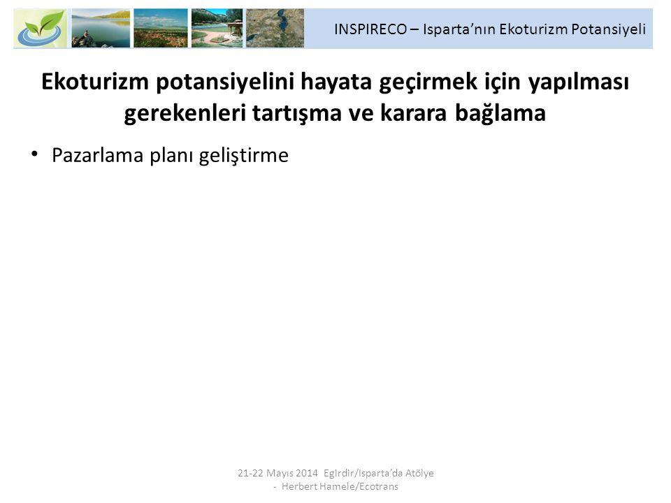 INSPIRECO – Isparta'nın Ekoturizm Potansiyeli 21-22 Mayıs 2014 Egirdir/Isparta'da Atölye - Herbert Hamele/Ecotrans Ekoturizm potansiyelini hayata geçirmek için yapılması gerekenleri tartışma ve karara bağlama Pazarlama planı geliştirme