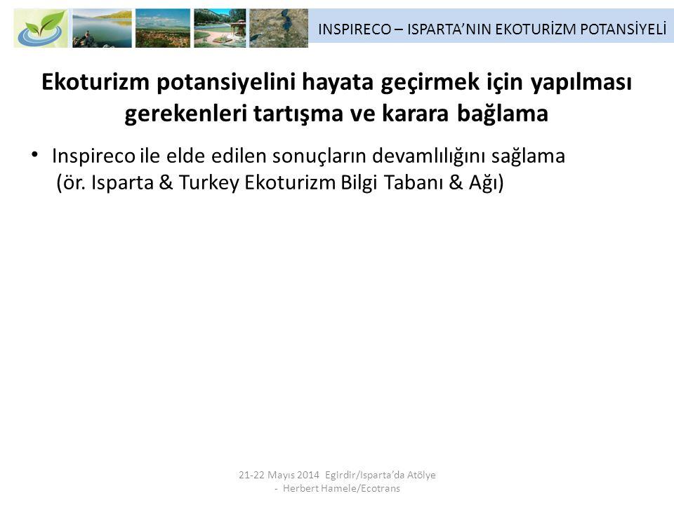 INSPIRECO – ISPARTA'NIN EKOTURİZM POTANSİYELİ 21-22 Mayıs 2014 Egirdir/Isparta'da Atölye - Herbert Hamele/Ecotrans Ekoturizm potansiyelini hayata geçirmek için yapılması gerekenleri tartışma ve karara bağlama Inspireco ile elde edilen sonuçların devamlılığını sağlama (ör.
