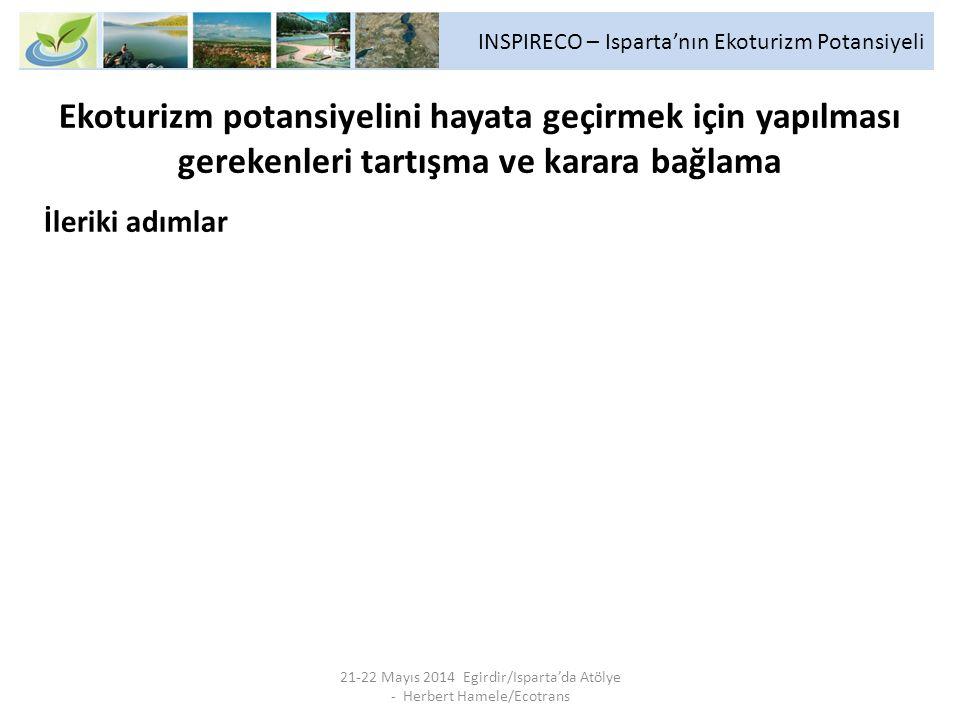 INSPIRECO – Isparta'nın Ekoturizm Potansiyeli 21-22 Mayıs 2014 Egirdir/Isparta'da Atölye - Herbert Hamele/Ecotrans Ekoturizm potansiyelini hayata geçi