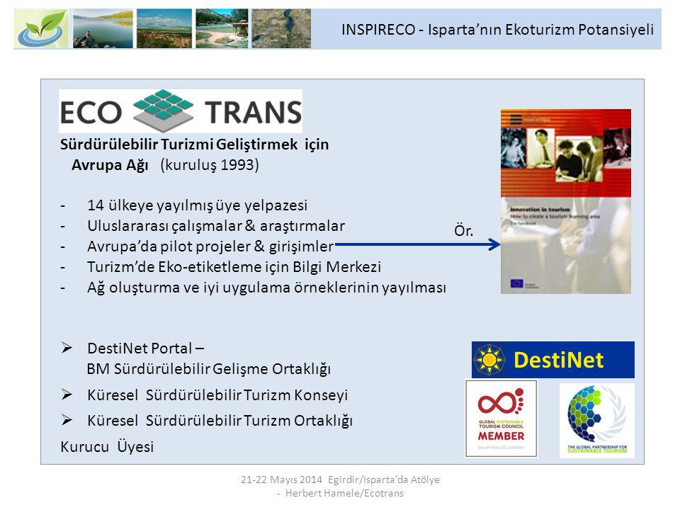 21-22 Mayıs 2014 Egirdir/Isparta'da Atölye - Herbert Hamele/Ecotrans INSPIRECO - Isparta'nın Ekoturizm Potansiyeli Sürdürülebilir Turizmi Geliştirmek için Avrupa Ağı (kuruluş 1993) -14 ülkeye yayılmış üye yelpazesi -Uluslararası çalışmalar & araştırmalar -Avrupa'da pilot projeler & girişimler -Turizm'de Eko-etiketleme için Bilgi Merkezi -Ağ oluşturma ve iyi uygulama örneklerinin yayılması  DestiNet Portal – BM Sürdürülebilir Gelişme Ortaklığı  Küresel Sürdürülebilir Turizm Konseyi  Küresel Sürdürülebilir Turizm Ortaklığı Kurucu Üyesi DestiNet Ör.