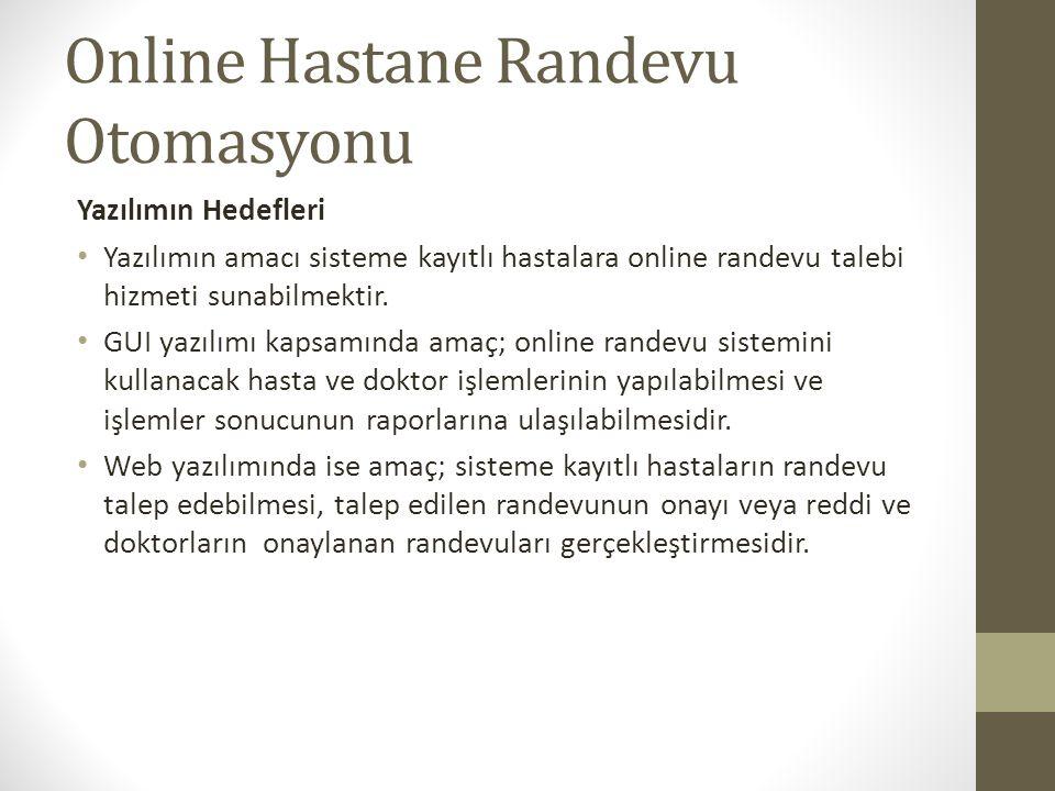 Yazılımın Hedefleri Yazılımın amacı sisteme kayıtlı hastalara online randevu talebi hizmeti sunabilmektir. GUI yazılımı kapsamında amaç; online randev