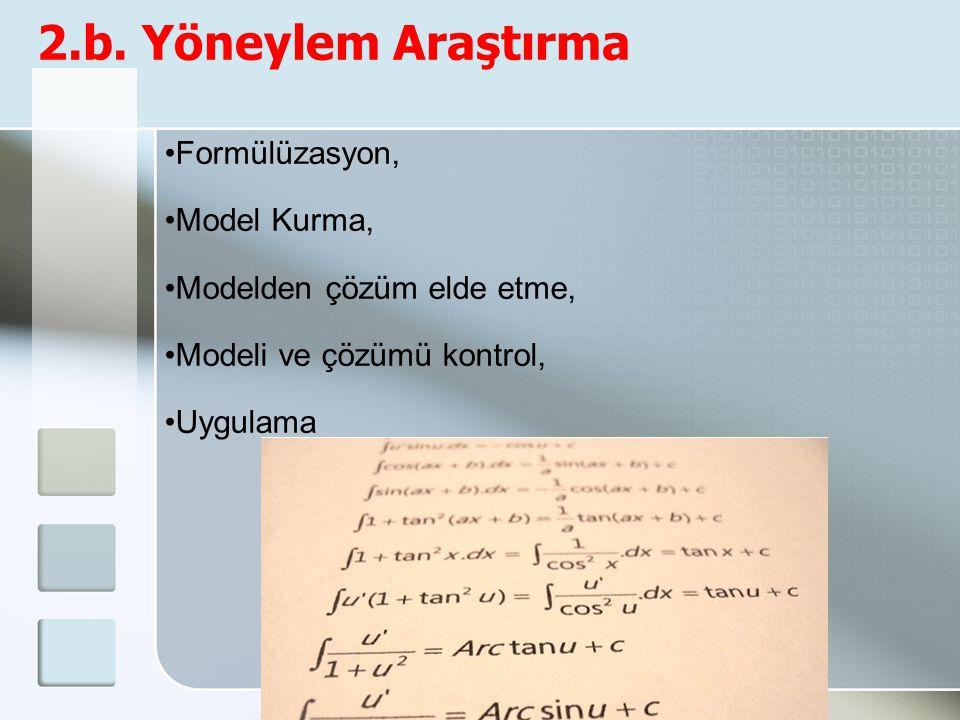 2.b. Yöneylem Araştırma Formülüzasyon, Model Kurma, Modelden çözüm elde etme, Modeli ve çözümü kontrol, Uygulama