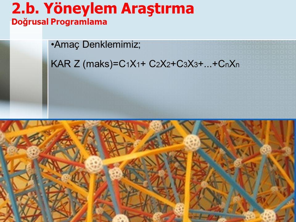 2.b. Yöneylem Araştırma Doğrusal Programlama Amaç Denklemimiz; KAR Z (maks)=C 1 X 1 + C 2 X 2 +C 3 X 3 +...+C n X n