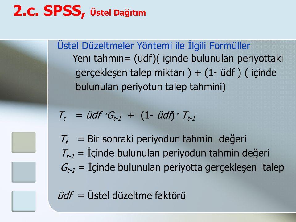 2.c. SPSS, Üstel Dağıtım Üstel Düzeltmeler Yöntemi ile İlgili Formüller Yeni tahmin= (üdf)( içinde bulunulan periyottaki gerçekleşen talep miktarı ) +