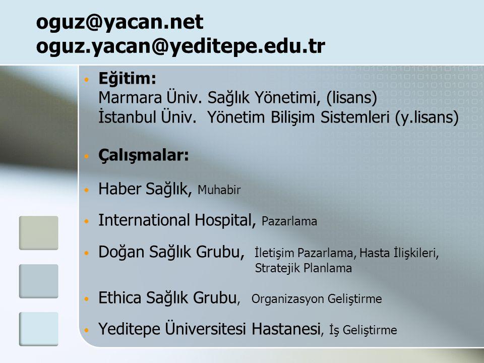 oguz@yacan.net oguz.yacan@yeditepe.edu.tr Eğitim: Marmara Üniv.
