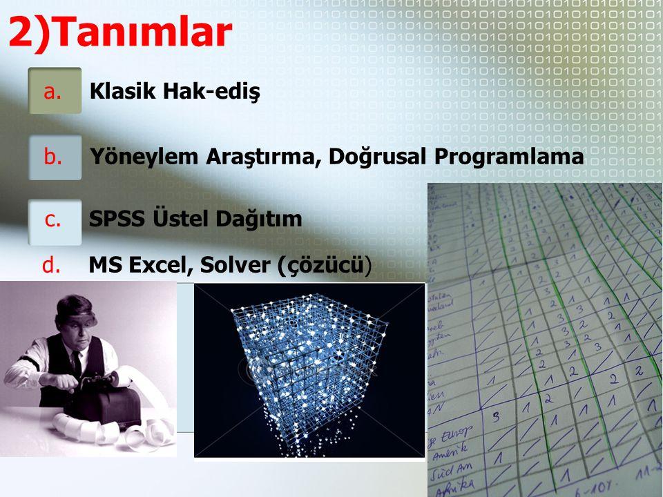 2)Tanımlar a.Klasik Hak-ediş b. Yöneylem Araştırma, Doğrusal Programlama d.