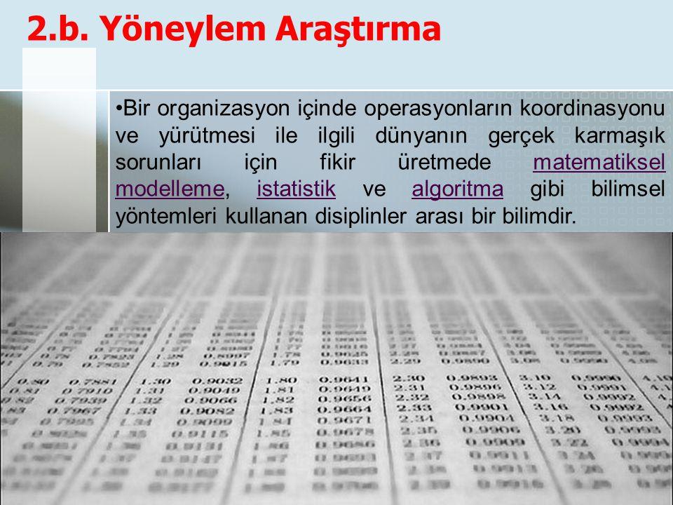 2.b. Yöneylem Araştırma Bir organizasyon içinde operasyonların koordinasyonu ve yürütmesi ile ilgili dünyanın gerçek karmaşık sorunları için fikir üre