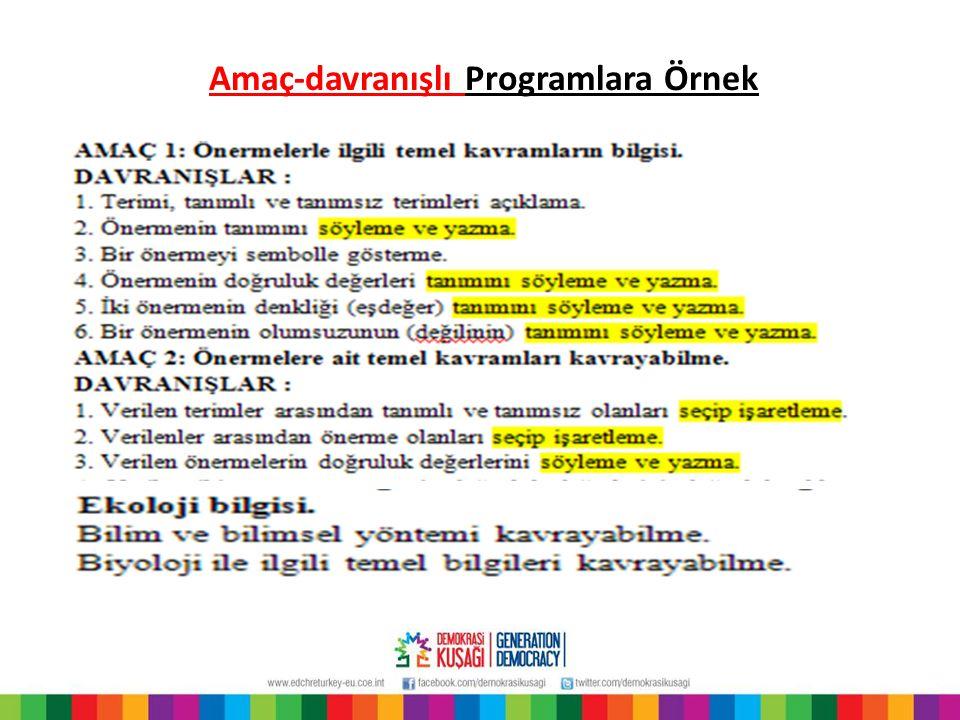 Amaç-davranışlı Programlara Örnek
