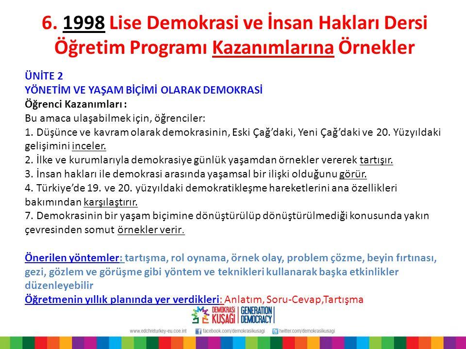 6. 1998 Lise Demokrasi ve İnsan Hakları Dersi Öğretim Programı Kazanımlarına Örnekler ÜNİTE 2 YÖNETİM VE YAŞAM BİÇİMİ OLARAK DEMOKRASİ Öğrenci Kazanım