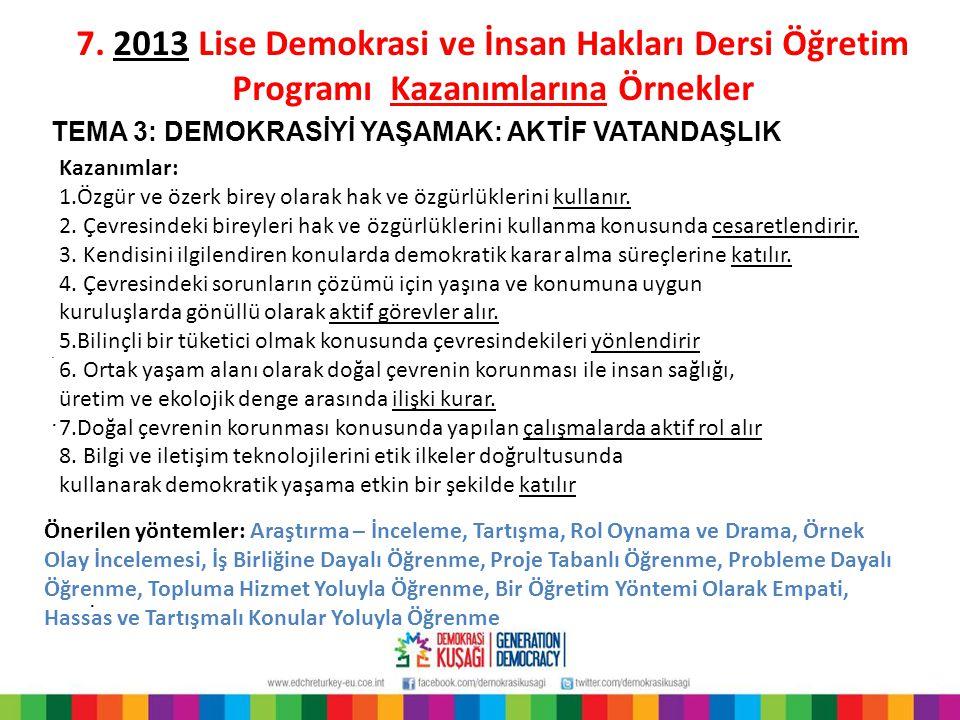 7. 2013 Lise Demokrasi ve İnsan Hakları Dersi Öğretim Programı Kazanımlarına Örnekler. TEMA 3: DEMOKRASİYİ YAŞAMAK: AKTİF VATANDAŞLIK Kazanımlar: 1.Öz