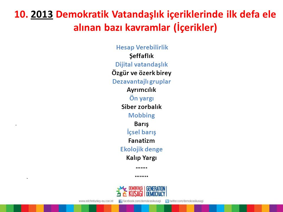 10. 2013 Demokratik Vatandaşlık içeriklerinde ilk defa ele alınan bazı kavramlar (İçerikler).. Hesap Verebilirlik Şeffaflık Dijital vatandaşlık Özgür