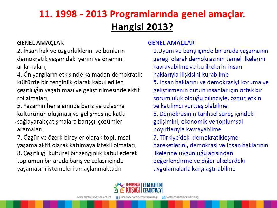 11. 1998 - 2013 Programlarında genel amaçlar. Hangisi 2013?... GENEL AMAÇLAR 2. İnsan hak ve özgürlüklerini ve bunların demokratik yaşamdaki yerini ve