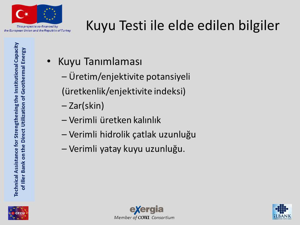 Member of Consortium This project is co-financed by the European Union and the Republic of Turkey Kuyu Testi ile elde edilen bilgiler(devam) Rezervuar Tanımı – Geçirgenlik – Rezervuar heterojenitesi (Doğal çatlaklar, katmanlar, kayaç özelliklerinin değişimi) – Sınırlar (uzaklık, büyüklük, ve şekil) – Toplam gözenekli hacim – Basınçlar (başlangıç p i ve ortalama p) – Rezervuar sıcaklıkları