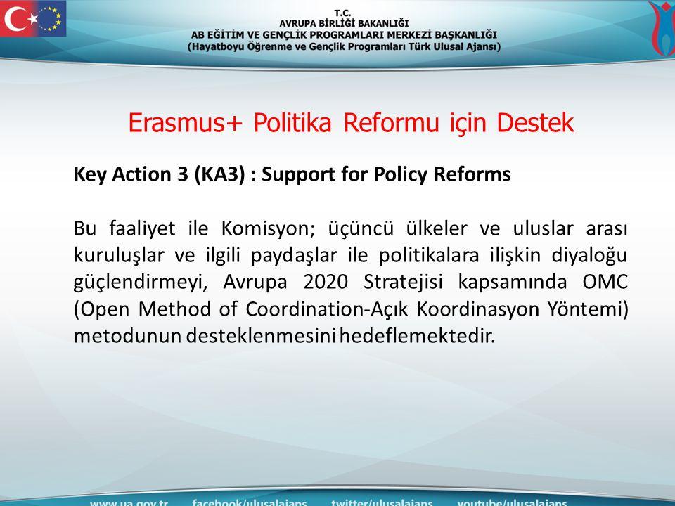 Erasmus+ Politika Reformu için Destek Key Action 3 (KA3) : Support for Policy Reforms Bu faaliyet ile Komisyon; üçüncü ülkeler ve uluslar arası kurulu