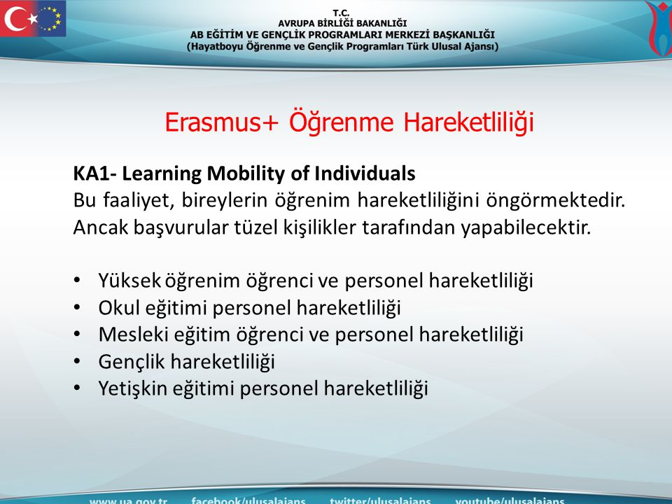 Erasmus+ Öğrenme Hareketliliği KA1- Learning Mobility of Individuals Bu faaliyet, bireylerin öğrenim hareketliliğini öngörmektedir. Ancak başvurular t