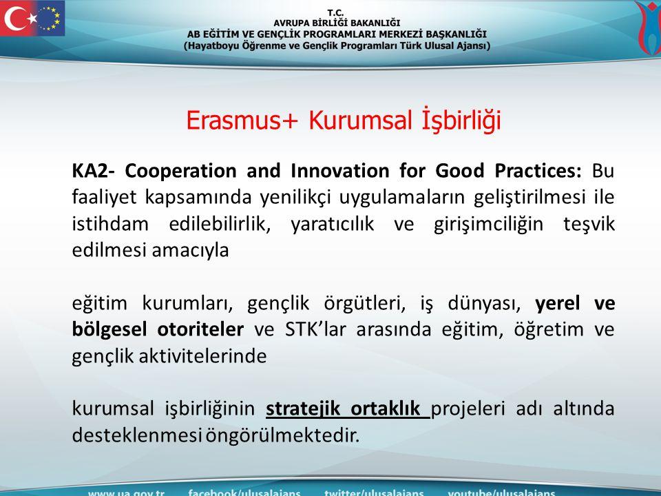 Erasmus+ Kurumsal İşbirliği KA2- Cooperation and Innovation for Good Practices: Bu faaliyet kapsamında yenilikçi uygulamaların geliştirilmesi ile isti