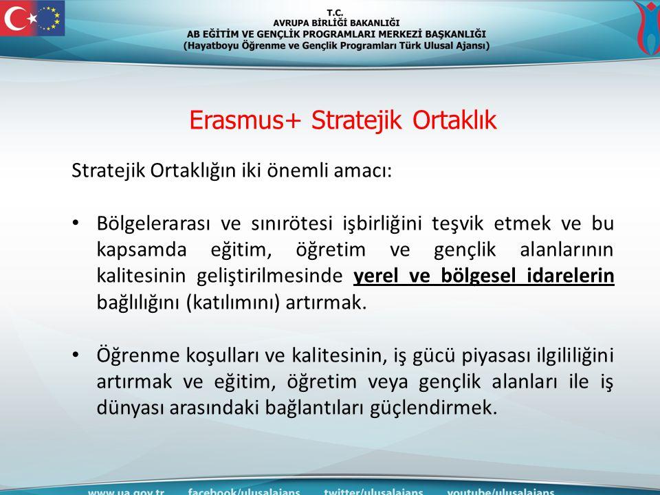 Erasmus+ Stratejik Ortaklık Stratejik Ortaklığın iki önemli amacı: Bölgelerarası ve sınırötesi işbirliğini teşvik etmek ve bu kapsamda eğitim, öğretim