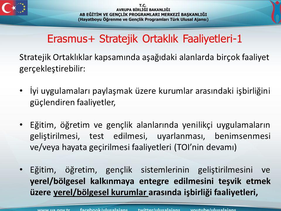 Erasmus+ Stratejik Ortaklık Faaliyetleri-1 Stratejik Ortaklıklar kapsamında aşağıdaki alanlarda birçok faaliyet gerçekleştirebilir: İyi uygulamaları p