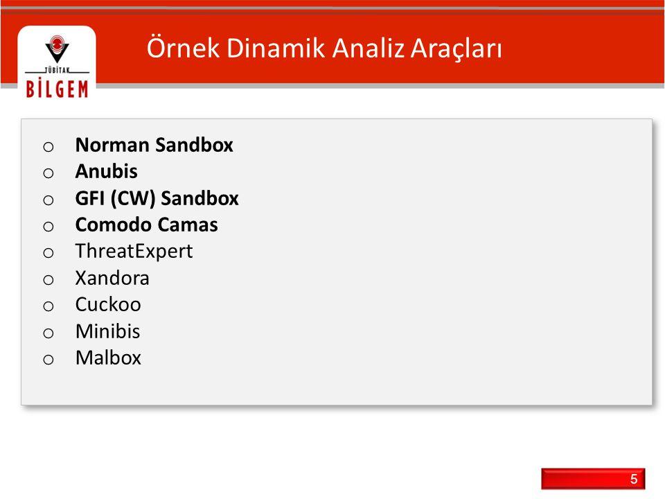 5 Örnek Dinamik Analiz Araçları o Norman Sandbox o Anubis o GFI (CW) Sandbox o Comodo Camas o ThreatExpert o Xandora o Cuckoo o Minibis o Malbox o Nor