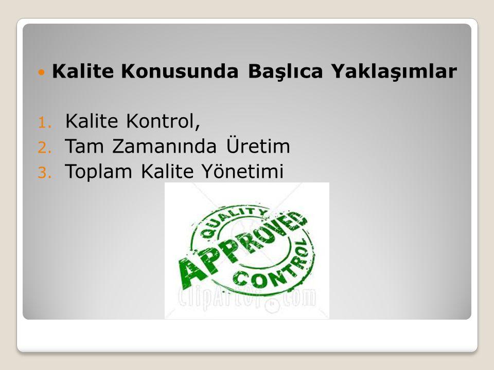 Kalite Konusunda Başlıca Yaklaşımlar 1. Kalite Kontrol, 2. Tam Zamanında Üretim 3. Toplam Kalite Yönetimi