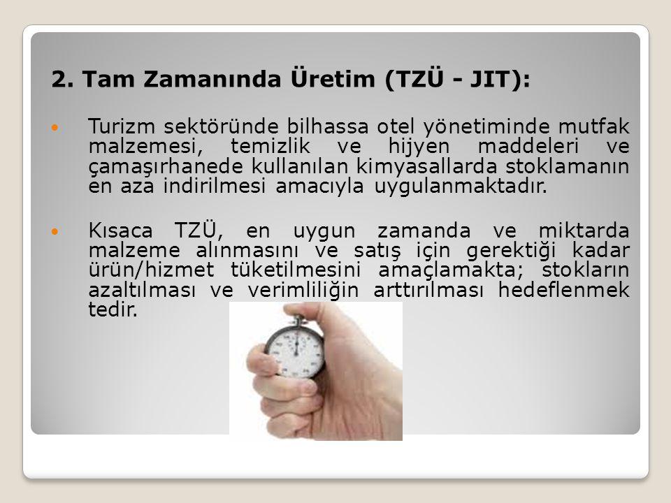 2. Tam Zamanında Üretim (TZÜ - JIT): Turizm sektöründe bilhassa otel yönetiminde mutfak malzemesi, temizlik ve hijyen maddeleri ve çamaşırhanede kulla