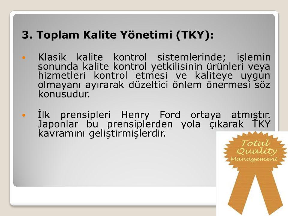 3. Toplam Kalite Yönetimi (TKY): Klasik kalite kontrol sistemlerinde; işlemin sonunda kalite kontrol yetkilisinin ürünleri veya hizmetleri kontrol etm
