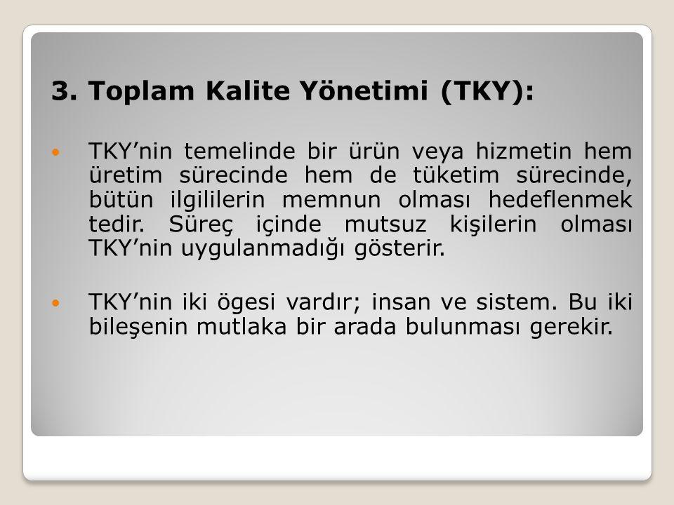3. Toplam Kalite Yönetimi (TKY): TKY'nin temelinde bir ürün veya hizmetin hem üretim sürecinde hem de tüketim sürecinde, bütün ilgililerin memnun olma