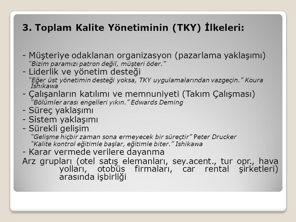 """3. Toplam Kalite Yönetiminin (TKY) İlkeleri: - Müşteriye odaklanan organizasyon (pazarlama yaklaşımı) """"Bizim paramızı patron değil, müşteri öder."""" - L"""