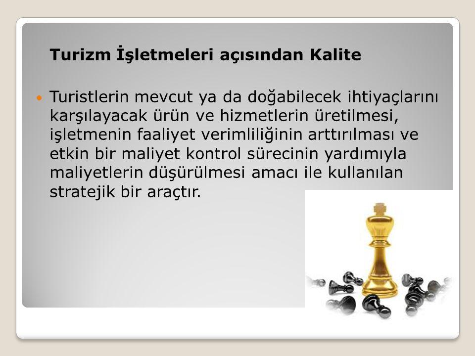 Turizm İşletmeleri açısından Kalitenin Özellikleri Kalite müşterinin ihtiyaçlarıdır.