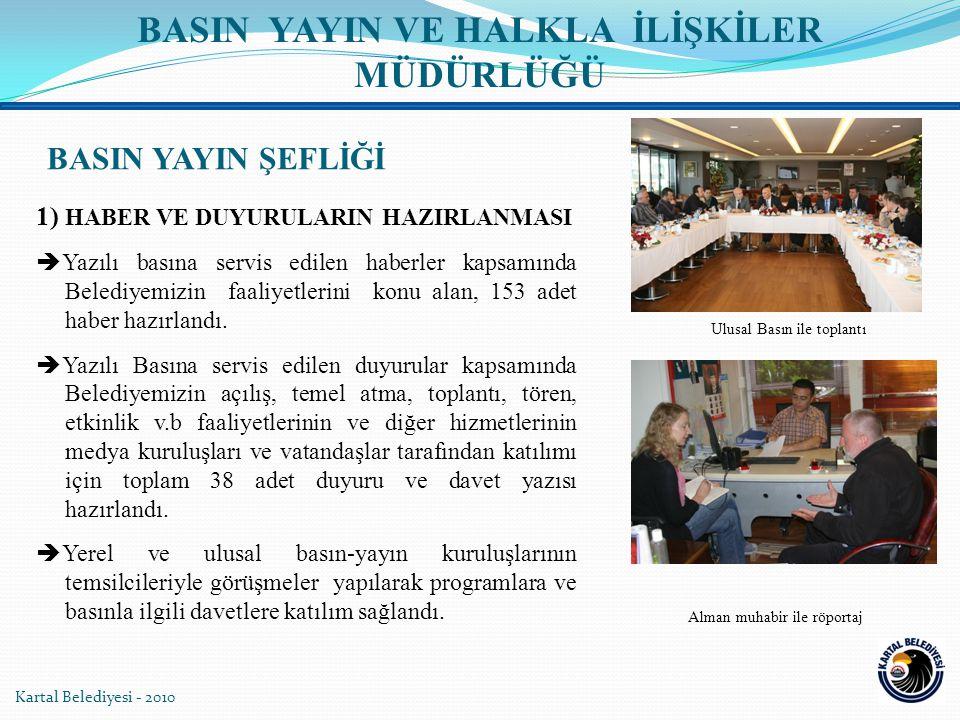 1) HABER VE DUYURULARIN HAZIRLANMASI  Yazılı basına servis edilen haberler kapsamında Belediyemizin faaliyetlerini konu alan, 153 adet haber hazırlandı.