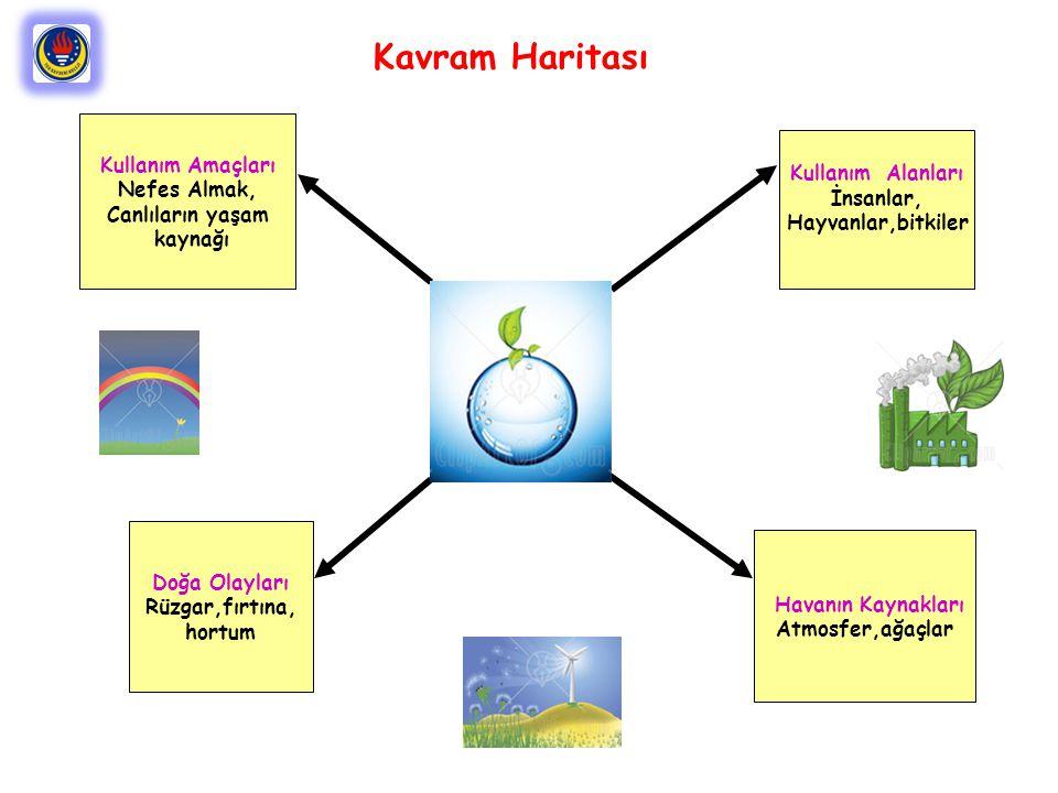 Kullanım Alanları İnsanlar, Hayvanlar,bitkiler Doğa Olayları Rüzgar,fırtına, hortum Kullanım Amaçları Nefes Almak, Canlıların yaşam kaynağı Havanın Kaynakları Atmosfer,ağaçlar Kavram Haritası