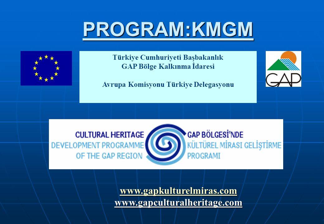 Türkiye Cumhuriyeti Başbakanlık GAP Bölge Kalkınma İdaresi Avrupa Komisyonu Türkiye Delegasyonu www.gapkulturelmiras.com www.gapculturalheritage.comPROGRAM:KMGM