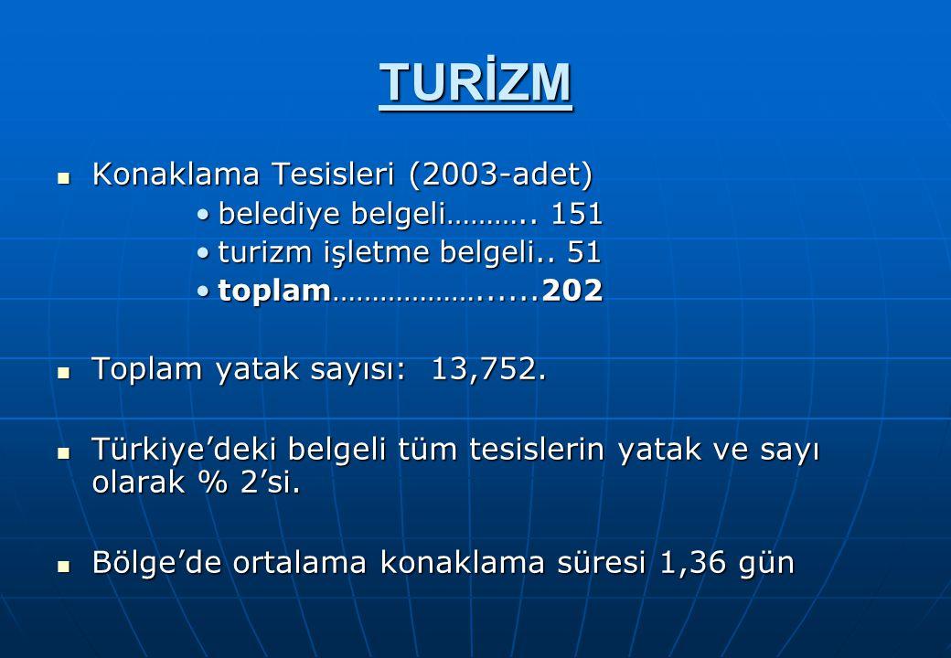 TURİZM Konaklama Tesisleri (2003-adet) Konaklama Tesisleri (2003-adet) belediye belgeli………..