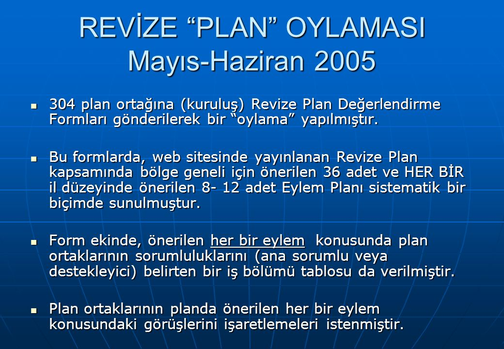 REVİZE PLAN OYLAMASI Mayıs-Haziran 2005 304 plan ortağına (kuruluş) Revize Plan Değerlendirme Formları gönderilerek bir oylama yapılmıştır.