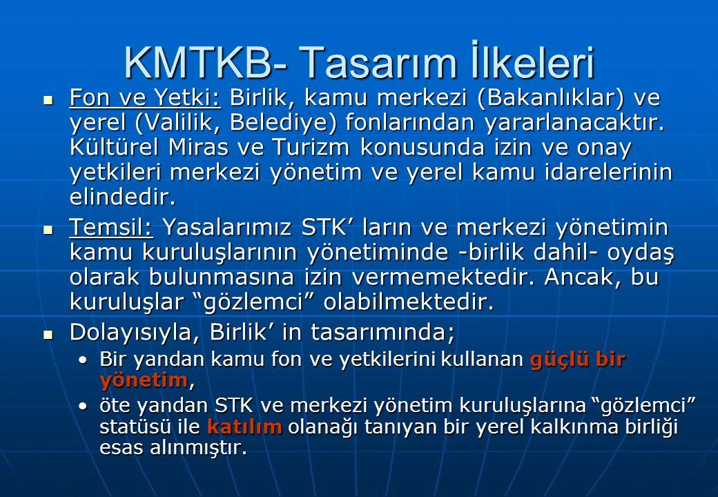 KMTKB- Tasarım İlkeleri Fon ve Yetki: Birlik, kamu merkezi (Bakanlıklar) ve yerel (Valilik, Belediye) fonlarından yararlanacaktır.