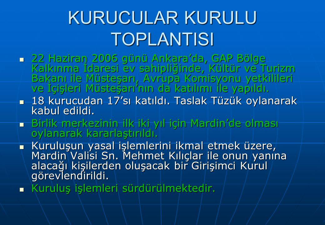 KURUCULAR KURULU TOPLANTISI 22 Haziran 2006 günü Ankara'da, GAP Bölge Kalkınma İdaresi ev sahipliğinde, Kültür ve Turizm Bakanı ile Müsteşarı, Avrupa Komisyonu yetkilileri ve İçişleri Müsteşarı'nın da katılımı ile yapıldı.