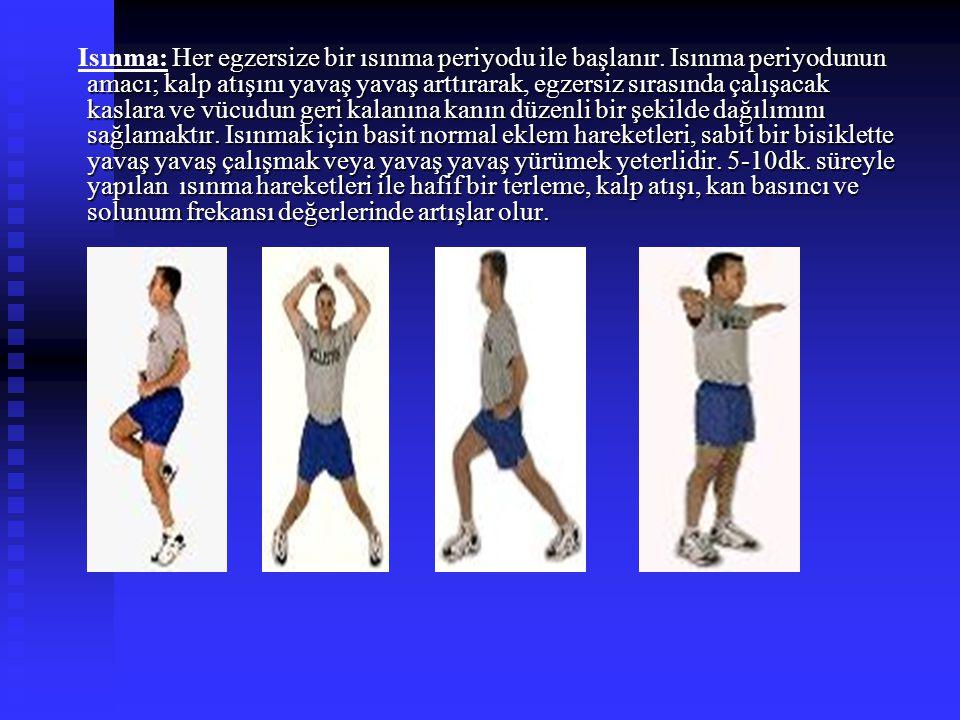 Her egzersize bir ısınma periyodu ile başlanır. Isınma periyodunun amacı; kalp atışını yavaş yavaş arttırarak, egzersiz sırasında çalışacak kaslara ve