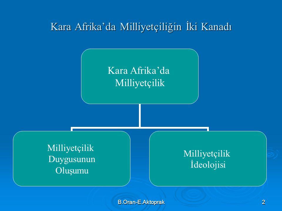 B.Oran-E.Aktoprak2 Kara Afrika'da Milliyetçiliğin İki Kanadı Kara Afrika'da Milliyetçilik Duygusunun Oluşumu Milliyetçilik İdeolojisi