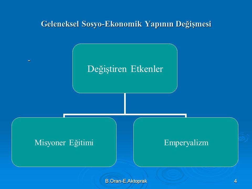 B.Oran-E.Aktoprak4 Geleneksel Sosyo-Ekonomik Yapının Değişmesi - Değiştiren Etkenler Misyoner Eğitimi Emperyalizm