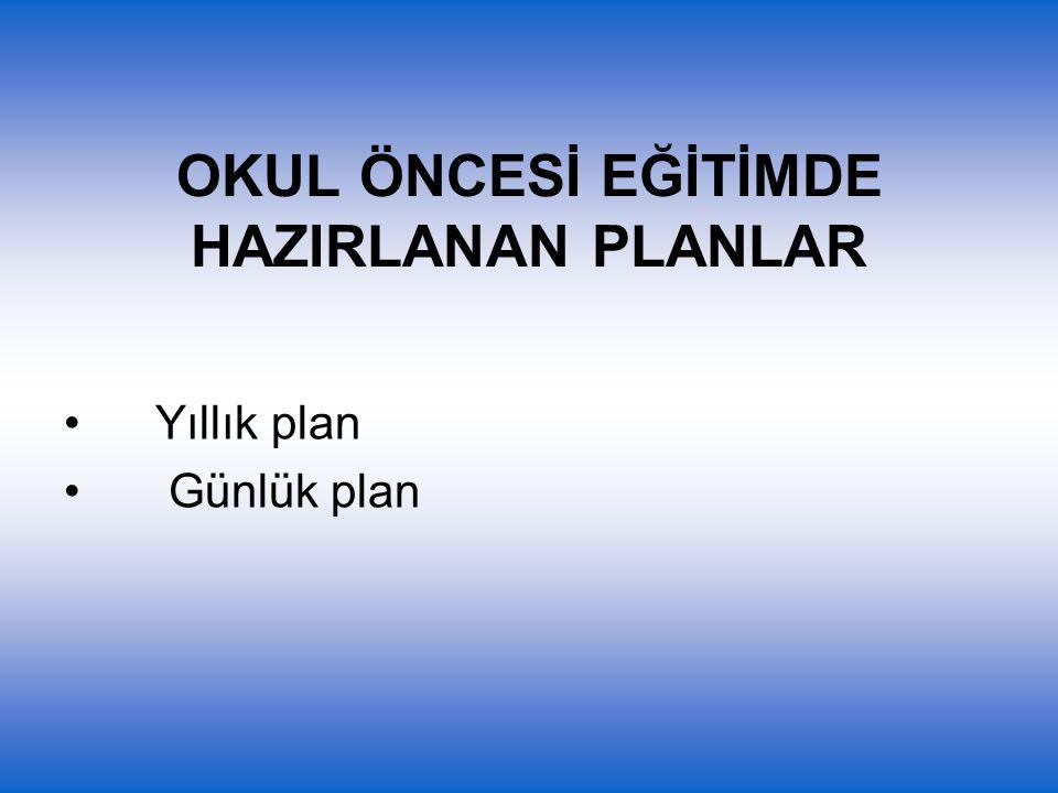 OKUL ÖNCESİ EĞİTİMDE HAZIRLANAN PLANLAR Yıllık plan Günlük plan