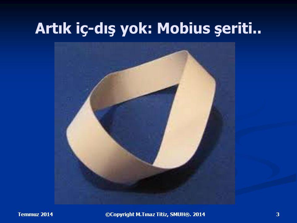 Artık iç-dış yok: Mobius şeriti.. Temmuz 2014 3©Copyright M.Tınaz Titiz, SMUH®. 2014
