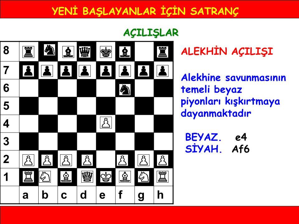 YENİ BAŞLAYANLAR İÇİN SATRANÇ AÇILIŞLAR ALEKHİN AÇILIŞI Alekhine savunmasının temeli beyaz piyonları kışkırtmaya dayanmaktadır BEYAZ. e4 SİYAH. Af6 8