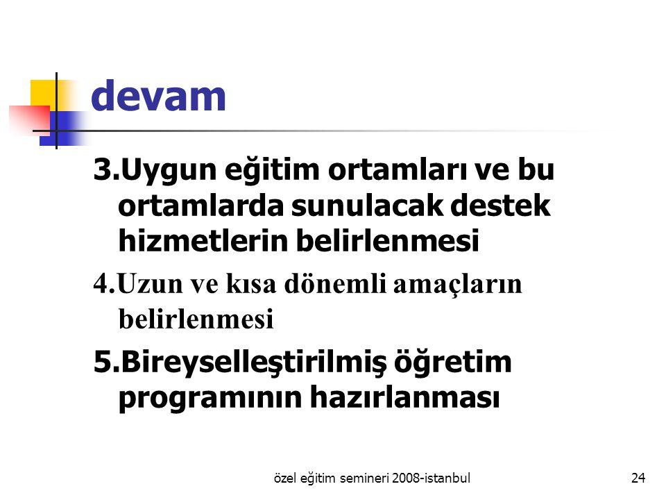 özel eğitim semineri 2008-istanbul24 devam 3.Uygun eğitim ortamları ve bu ortamlarda sunulacak destek hizmetlerin belirlenmesi 4.Uzun ve kısa dönemli amaçların belirlenmesi 5.Bireyselleştirilmiş öğretim programının hazırlanması
