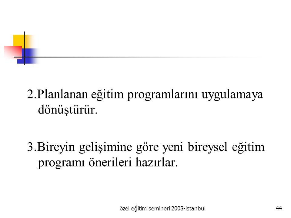 özel eğitim semineri 2008-istanbul44 2.Planlanan eğitim programlarını uygulamaya dönüştürür.