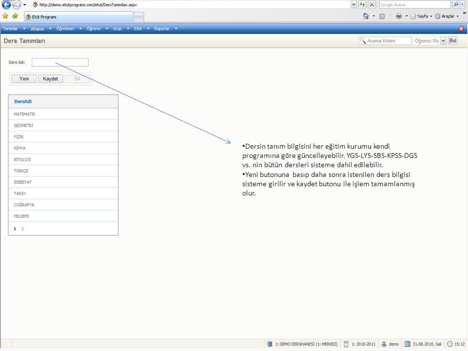 Dersin tanım bilgisini her eğitim kurumu kendi programına göre güncelleyebilir. YGS-LYS-SBS-KPSS-DGS vs. nin bütün dersleri sisteme dahil edilebilir.