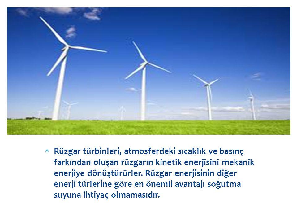  Rüzgar türbinleri, atmosferdeki sıcaklık ve basınç farkından oluşan rüzgarın kinetik enerjisini mekanik enerjiye dönüştürürler. Rüzgar enerjisinin d