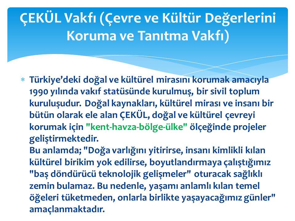 Türkiye'deki doğal ve kültürel mirasını korumak amacıyla 1990 yılında vakıf statüsünde kurulmuş, bir sivil toplum kuruluşudur. Doğal kaynakları, kül